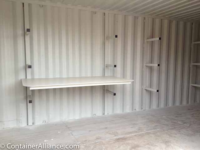 20ft Shipping Container >> Shipping Container Modifications - Shelving
