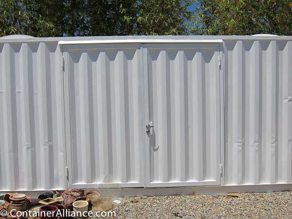 Heavy-Duty Steel Door Mod White Closed & Shipping Container Modifications - Steel Corrugated Doors